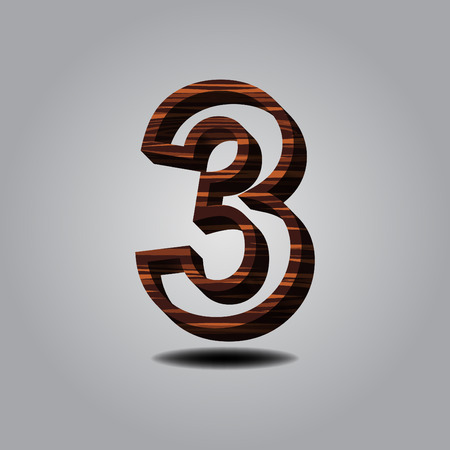 number 3 wood on grey background