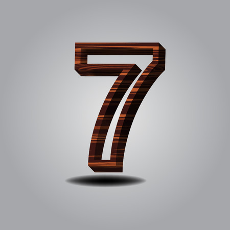 number 7 wood on grey background