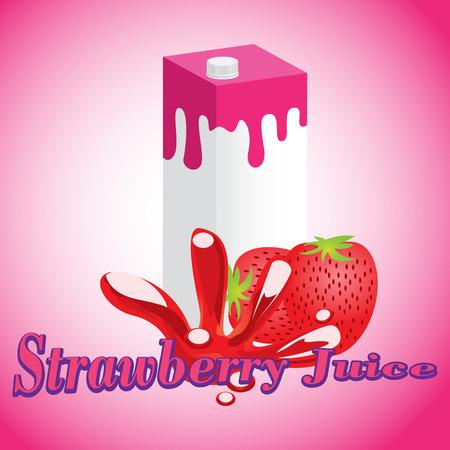 Strawberry Juice cartons with screw cap Vector