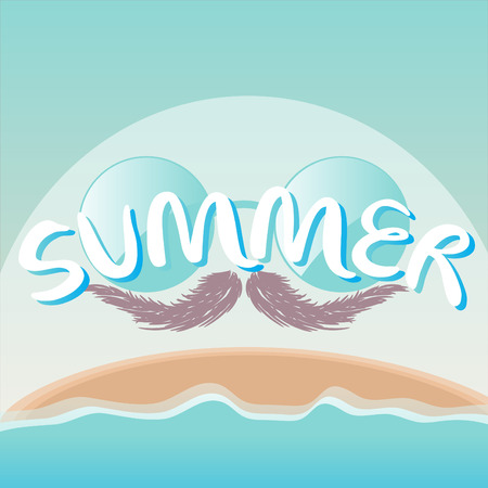 summer background with sunglasses, mustache Illustration