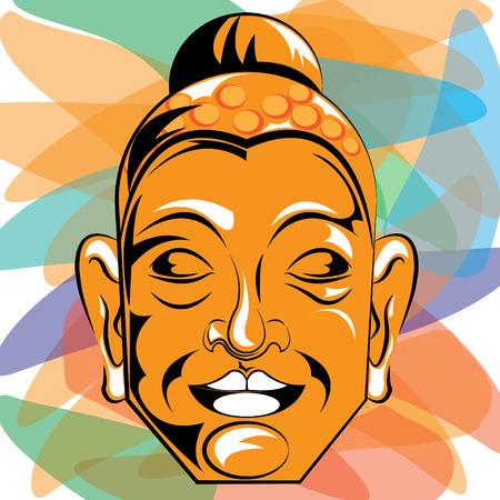 Vector illustration of Buddha face