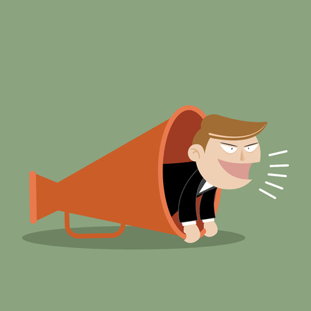 Vector illustration of business man with megaphone Vector