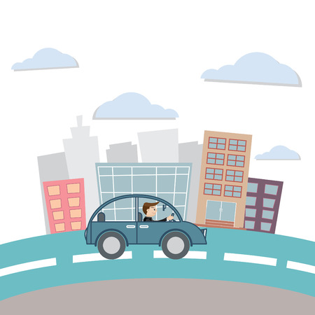 Vector illustration of Businessman drive car work Vector