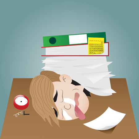 remind: Vector illustration of businessman working burnout
