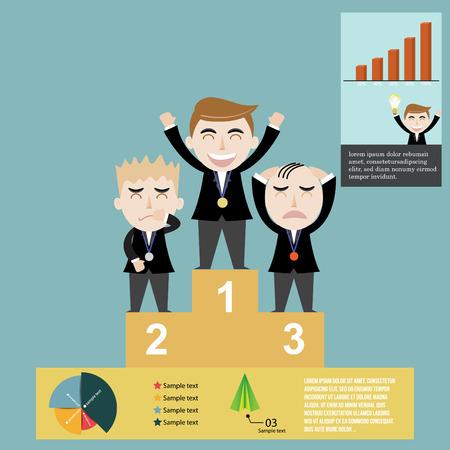 Vector illustration of businessman award success