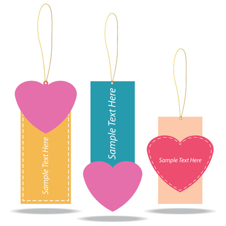 Vector illustration of Heart Tags Design Vector