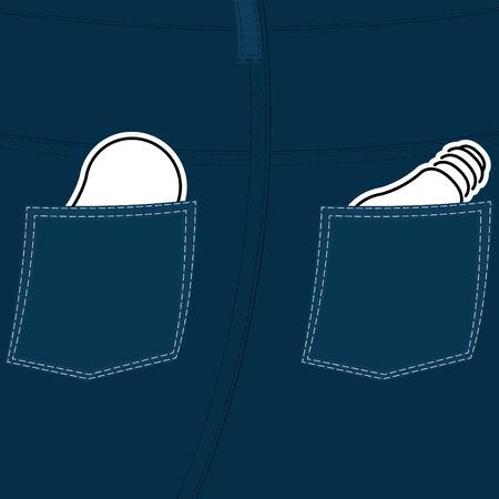 threadbare: Illustrazione vettoriale di jeans con l'idea