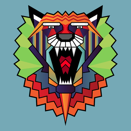 Vector illustration of lion head in pattern Vector