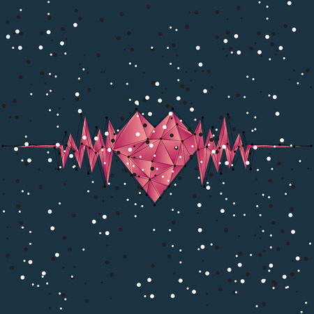 Abstract heartbeat background created from polygons Vector