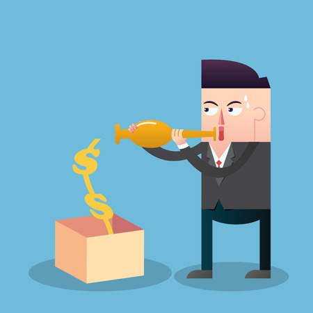 oboe: Businessman attracts money with oboe Illustration