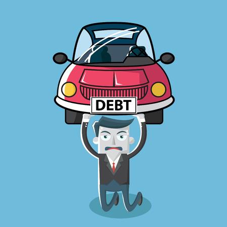 빚: 부채 자동차를 운반하는 사업가