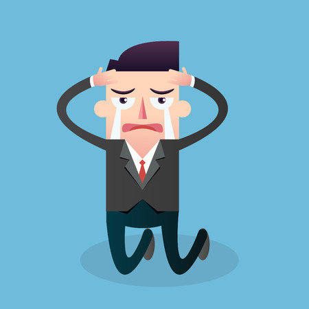 Businessman crying Vector