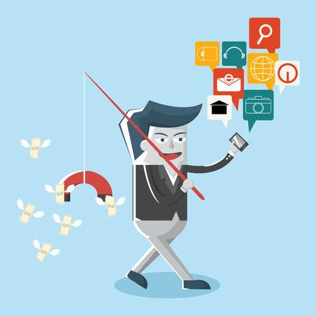 bar magnet: Businessman finance with network, magnet