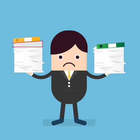 hesitating: businessman looking clueless with pile of paper works Illustration