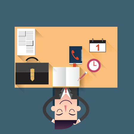 Businessman relaxing in the office illustration