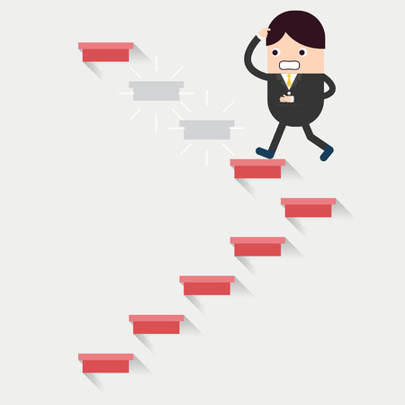 Businessman run in a growth with barrier Vector