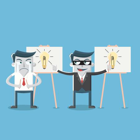 steal brain: Businessman steal ideas light bulb
