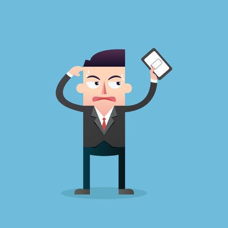 low battery:  Businessman with mobile low battery