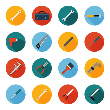 Construction working tools icons set