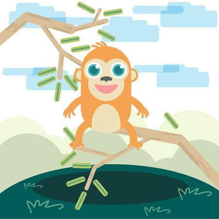 Funny Animal Monkey illustration Vector