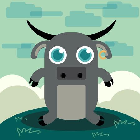 funny animal: Funny Animal buffalo illustration