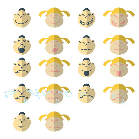 Set of 18 smiley faces characters Vector