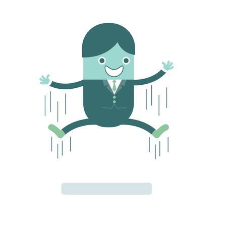 illustration of cartoon character businessman smiling jumping Vector