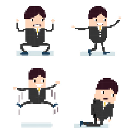 Set of pixel art businessman characters poses, illustration Vector