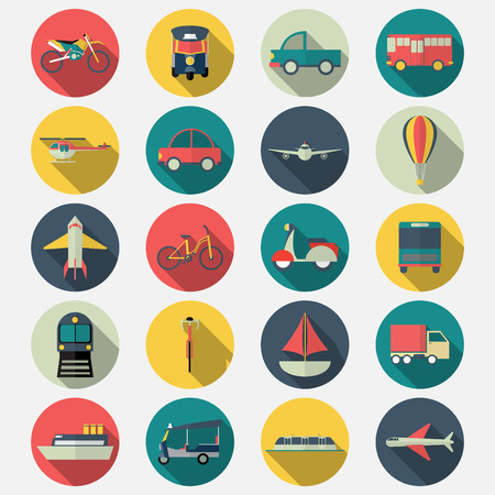 Transportation icons with long shadow effect in stylish Illustration