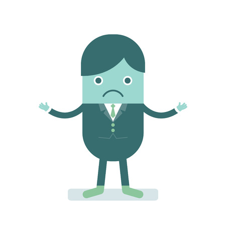 clueless: illustration of businessman looking clueless
