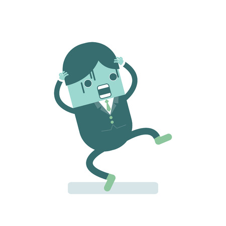 panicked: illustration of businessman scared and shocked