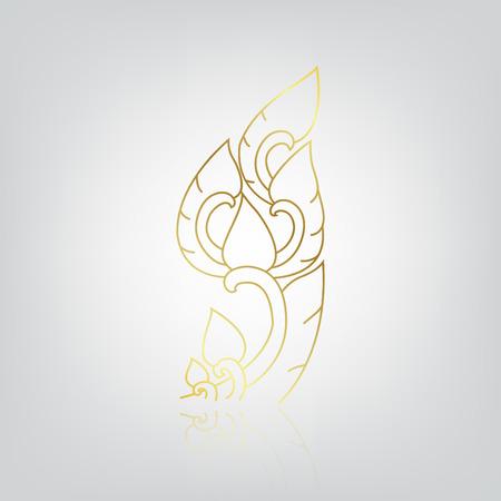 illustration of flower, line thai art No 1 Vector