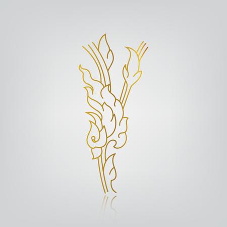 illustration of flower, line thai art No 10 Vector