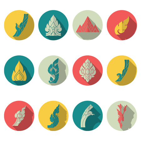 illustration of icon set line thai Vector