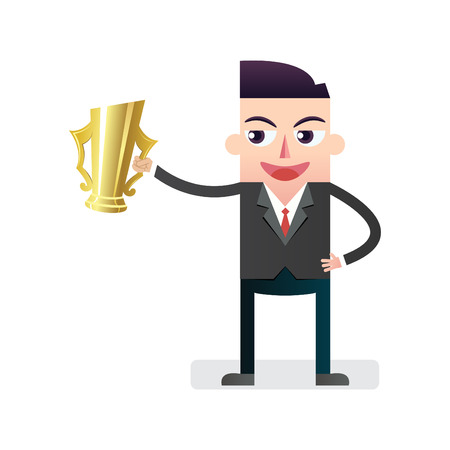victorious: Victorious Businessman with golden cup