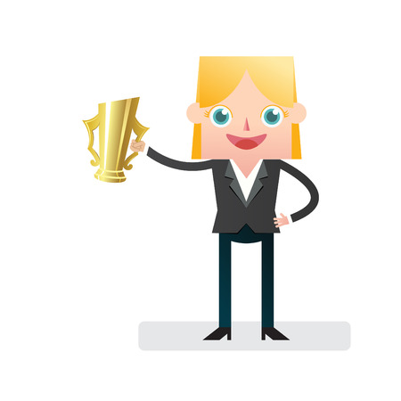 victorious: Victorious Businesswoman with golden cup Illustration