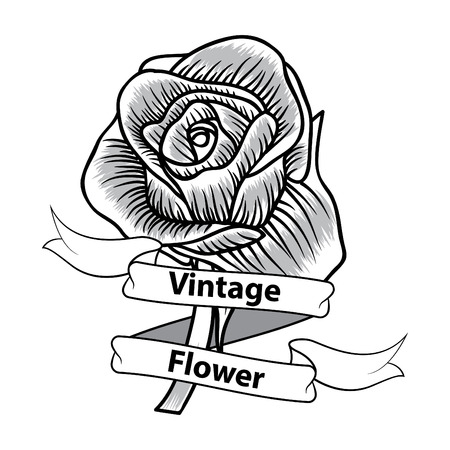 Vintage flower monochrome of rose Vector