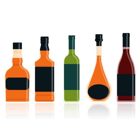wine bottle: Whiskey bottle set illustration Illustration