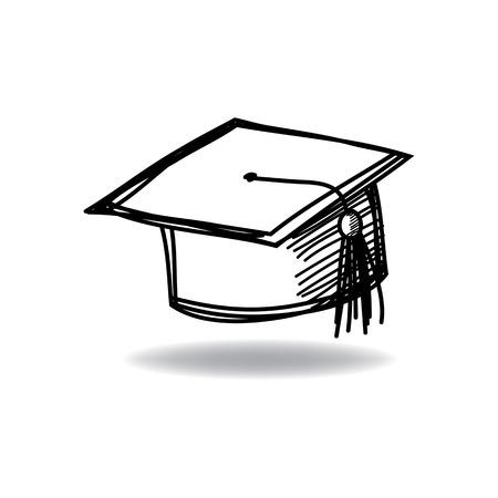 Graduate cap met inkt hand getrokken