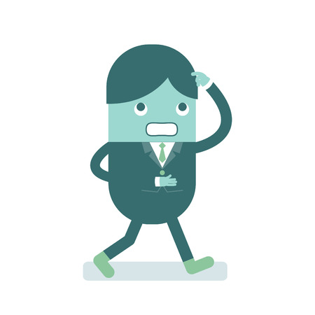 Vector illustration of cartoon character businessman pondering