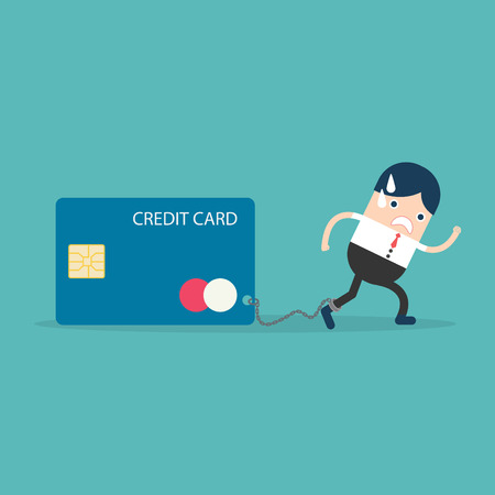 liabilities: Businesswoman with Credit Card slave Illustration