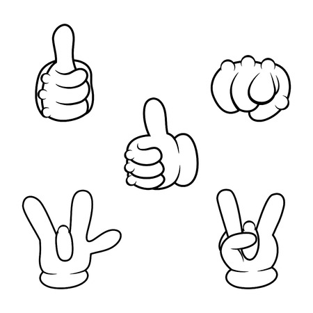 Cartoon hands sign collection. Vector illustration