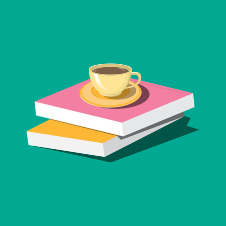 Cup of coffee with books. Vector illustration Vector