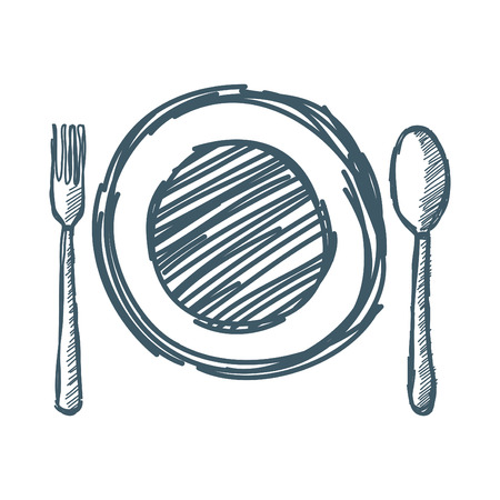 Empty plate with spoon and fork. Vector illustration  イラスト・ベクター素材