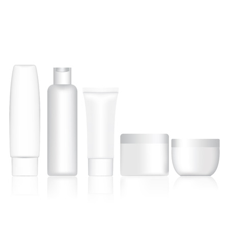 Set bottle shampoo and cream container blank. Vector illustration