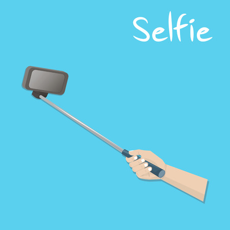 selfie: Taking a Selfie Photo with holding camera