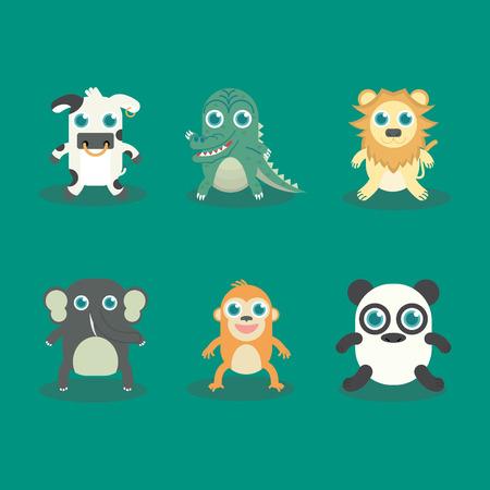 no1: Vector illustration of Funny Animal Icon Set No.1