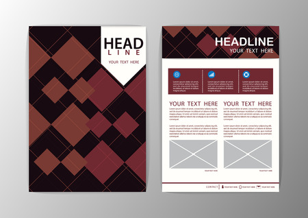 Abstract Brown Square Geometric Brochure Template. Flyer Layout. Vector illustration