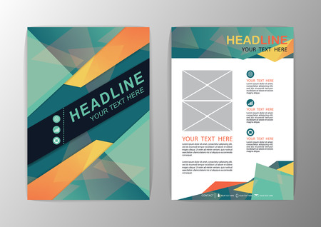 Abstract green and orange Triangle design Brochure Flyer template layout-vector illustration Vector