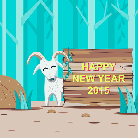wooden signboard: Happy New Year 2015 with Goat and wooden signboard at the forest  - vector illustration Illustration
